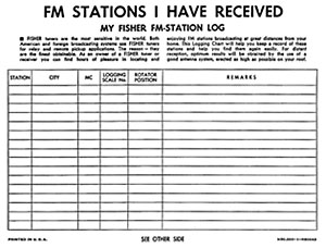 Fisher FM Station Log