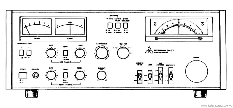 mitsubishi da-c7 - manual - tuner pre amplifier