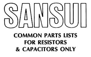 Sansui Common Parts List
