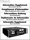 TEAC Tape Deck Information Supplement